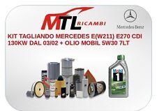 KIT TAGLIANDO MERCEDES E(W211) E270 CDI 130KW DAL 03/02 + OLIO MOBIL 5W30 7LT