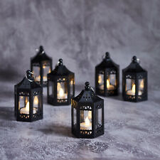6 Black Moroccan Indoor Battery Operated LED Flameless Tea Light Candle Lanterns