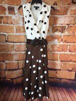 Vintage Jessica Howard Size 14 Brown White Polka Dot Dress Wide Belt FREE SHIP
