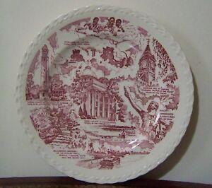 Alabama Souvenir Plate Vernon Kilns Red Vintage Montgomery Samford Hall Vulcan