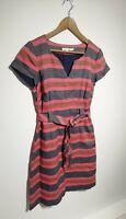 Boden UK 12 Pink/Orange/Blue Stripe Tie Waist Shift Dress Short Sleeve Summer