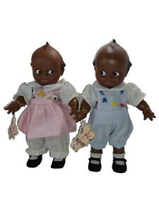 Vintage Jesco Cameo's Black African American Kewpie Boy and Girl Doll