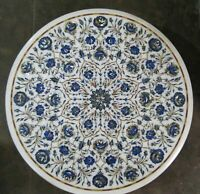 "24"" Marble center coffee Table Top Handmade Home decor Semi Precious Stone Inlay"