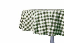 Sage Green White Fabric Tablecloth: Gingham Checkered Design, 70 Round
