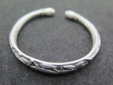 Real Pure S999 Sterling Silver Bamboo Lotus 六字真言 9mm W Bangle Bracelet/ 35.5g