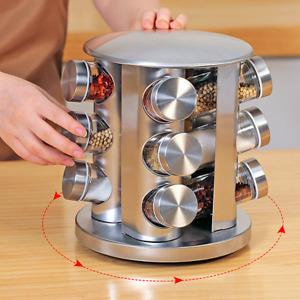 12 Pieces Set Revolving Rotating Spice Rack Glass Herb Jars Cruet Condiment BNIB