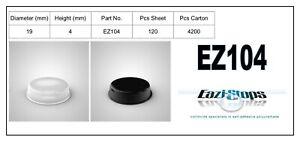 19.0mm x 4.0mm RUBBER BUMPER FEET Sticky Bumpons Polyurethane Clear Black EZ104