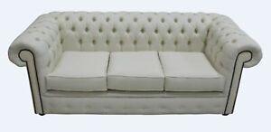 Chesterfield Original 3 Seater Settee Couch Charles Linen Cream Sofa Uk Handmade