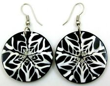 NATURAL SPIDER WEB CONE SHELL earrings ; DA079
