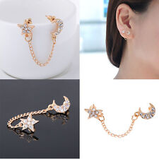 Luxury Women Gold plated Moon & Star Shape Crystal Rhinestone Earrings HA