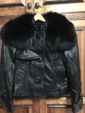 Genuine Black Leather Jacket with Fox Fur Collar by Peter Nygard M