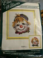 Elsa Williams Needlepoint Kit Clown with Green Hat Canvaswork VTG New