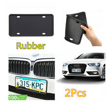2Pcs Black Silicone Rubber Rustproof USA License Plate Frames Front&Rear Bracket