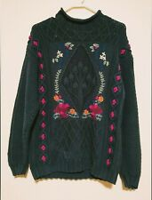 Ll Bean floral Embroidered Sweater Knit Fisherman country ski lodge holidays