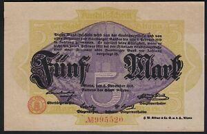 1918 5 Mark Germany Altona Emergency WWI Money Banknote Currency Rare UNC
