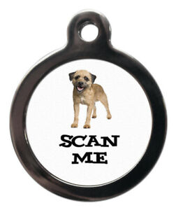 Pet ID tag SCAN ME CARTOON BORDER TERRIER DOG Picture Tag 2 sizes