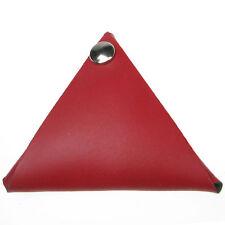 Rojo 100% Cuero Real Triangular Monedero hecho a mano de doble cara UK Made