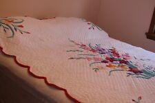 Vintage Fabulous Appliqued Cotton Quilt Flowers 74x88