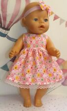 "Dolls Clothes for 17"" Baby Born Pink and Lemon Floral with Lace"