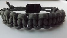 Parachute Cord Macrame Braided Bracelet Handmade Rustic Style Adjustable Grey