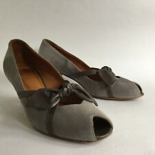 HOBBS NW3 Grey Suede Leather Peep Toe Bow Front Court Shoe Cone Heel UK 4 EU 37