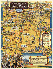 """Mid-Century Pictorial Map Historical Trails Through New Mexico Wall Art 11""""x14"""""""