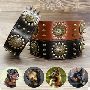 Real Leather Dog Studded Collar Heavy Duty for Medium Large Dogs German Shepherd