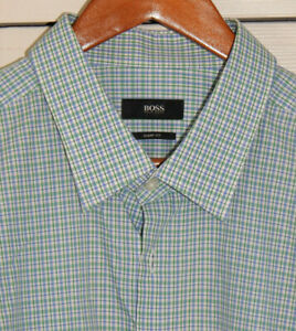 "HUGO BOSS Sharp Fit Blue & Green Cotton Plaid 18-34/35  (48"" chest)"