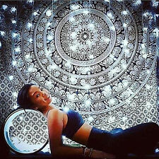 Black And White Elephant Indian Mandala Wall Hanging Decor Hippie Tapestry Queen