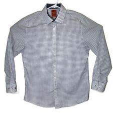 Penguin Mens 15 1/2 32/33 White Checkered Long Sleeve Button Up Slim Dress Shirt