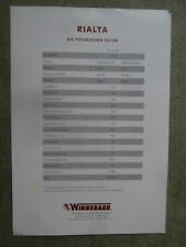 Winnebago Rialta Preisliste VW T4 WV 221 RD 58kw 81kw pricelist 2/1996