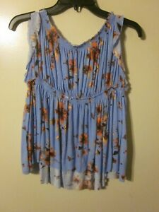 NWTS FREE PEOPLE Blue Floral sleeveless top blouse shirt size X SMALL