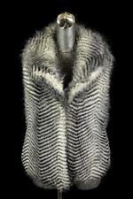 womens black white JACK faux fur vest jacket sleeveless plush modern casual S