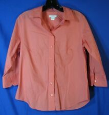 LADY Hathaway WOMENS Golf BUTTON-UP Lightweight POLISHED COTTON SHIRT Salmon M