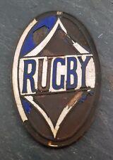 RARE 1920's Rugby Car Emblem/Badge Brass Era Porcelain/Enamel Crest