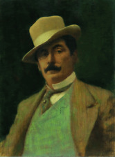 GIACOMO PUCCINI, COMPOSER - PORTRAIT BY ELIAS RIVERA - ORIGINAL OIL PAINTING