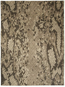 Contemporary Miraje Design Brown and Beige Hand Knotted Wool Rug N10227