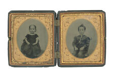 Double 1/6 Plate Tintype - Children - Brother & Sister - Full Thermoplastic Case