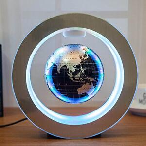 Round Magnetic Globe Levitation Floating Rotating World Map LED Lamp Decoration