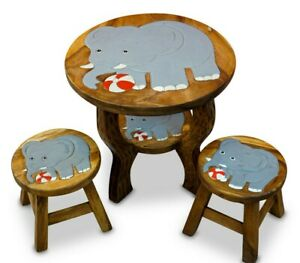 Children's Table With Chairs Kid's Room Furniture Wood Child Seat Table 2 Seat