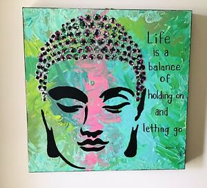 Green Buddha Quote Sequined Acrylic Stencil Painting Canvas Art Kim Magee New