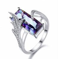 Luxurious Rainbow Mystic Topaz CZ Ring 925 Silver Women's Wedding Band Size 6-10