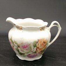 Ancien Pot à Lait en Porcelaine de Paris Bouquet de Roses