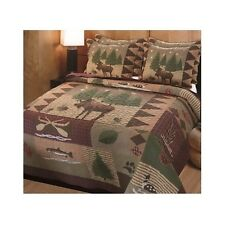 Quilt Bedding Set Country Lodge Rustic Hunting Cabin Trees King Comforter Shams