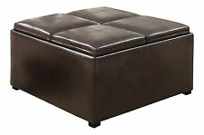 Simpli Home Avalon Coffee Table Storage Ottoman w/ 4 Serving Trays PU Leather...