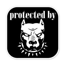 "Protected By Pitbull car bumper sticker decal 4"" x 4"""