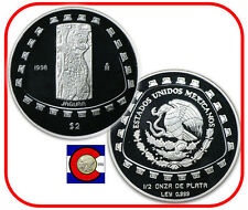 1998 Jaguar PROOF 2 Pesos 1/2 oz  Silver Coin Mexico Tolteca Series airtite