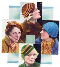How to make 4 vintage 1930s chic hats-patterns- 2 knitting,2 crochet-UK freepost