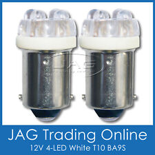 PAIR 12V 6-LED T10 BA9S CAR GLOBES SUPER WHITE HID LOOK BULBS - Car/Auto/Caravan
