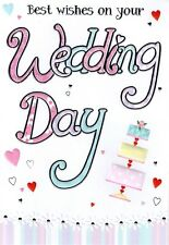 WEDDING DAY CARD LOVELY CELLO WRAPPED CONGRATULATIONS GREETING CARDS NEW